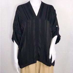 Tina+Jo Black Stripe Tab Sleeves Kimono Blouse SzS